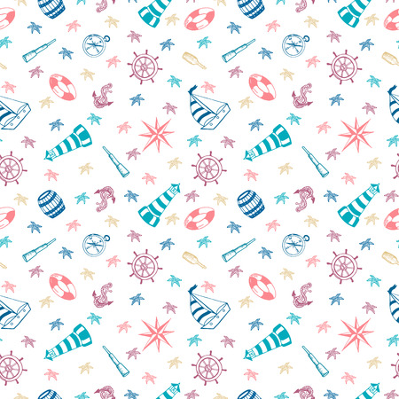 White background with nautical elements. Marine seamless pattern for wallpaper, scrapbook and other design