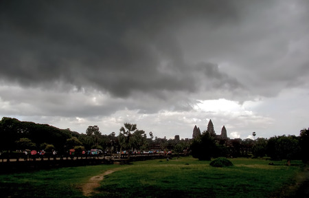 knell: Black cloud move towards an ancient temple Stock Photo