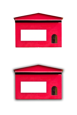 two lovely mailboxes red on white background photo