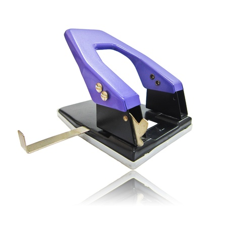 paper puncher: violet Paper puncher isolated on white background