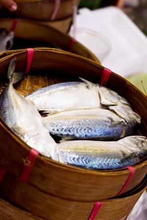Mackerel fish in bamboo basket at market, Thailand Stock Photo - 22121231