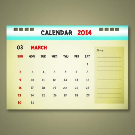 monthly: Calendar to schedule monthly. March. Illustration