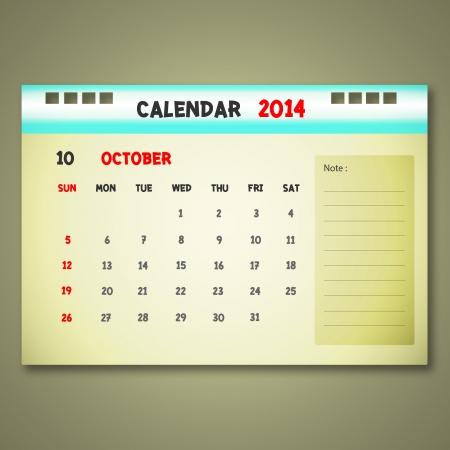 new yea: Calendar to schedule monthly. October.