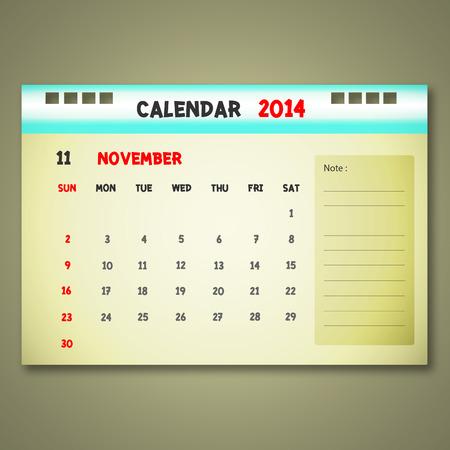 Calendar to schedule monthly. November. Stock Vector - 22417548