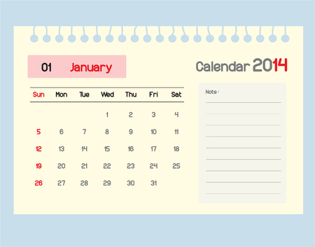 Calendar to schedule monthly. January. Vector