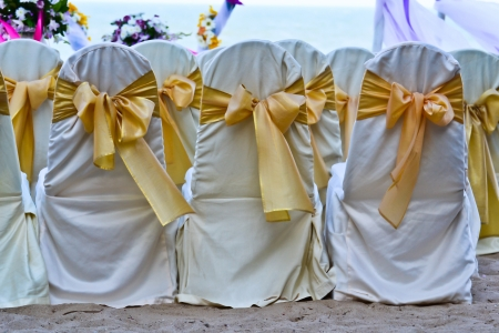 Wedding setting on the beach. photo