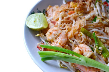Stir-Fried Rice Noodle with Shrimp isolate on white photo