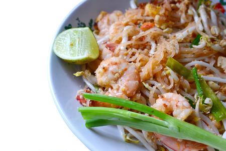 Stir-Fried Rice Noodle with Shrimp isolate on white photo