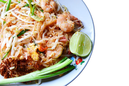 quick snack: Stir-Fried Rice Noodle with Shrimp isolate on white