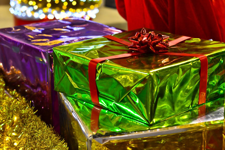 wrapped present: Elegantly wrapped present