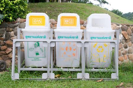 trashcan in park,thailand photo