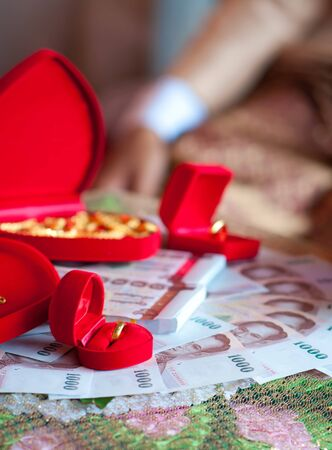 ring stand: Rings and Money in Thai wedding ceremony Stock Photo