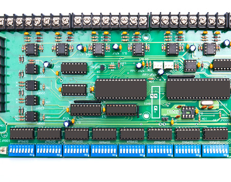 processor: Closeup of electronic circuit board with processor Stock Photo