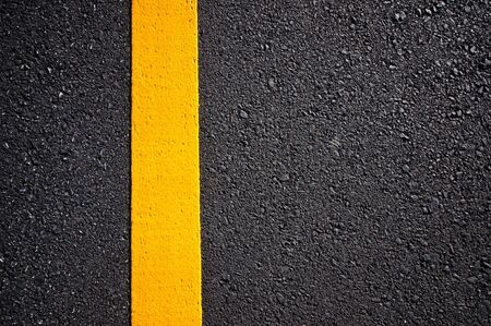 yellow on line: Asphalt road with separation yellow lines