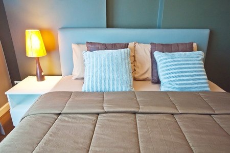 guests: Bed in the resort,Bedroom ready for guests Editorial