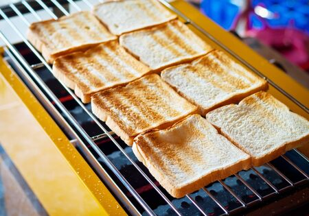 woodfire: Bread toasted on grill, selective focus Stock Photo