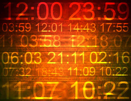 Colorful computer illustration indicating different times Banco de Imagens