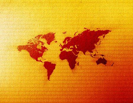 Weltkarte mit binären Code, der sich hinter ihn.  Standard-Bild - 282473