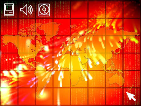 A high tech illustration with unfolded map of the world and binary code. illustration