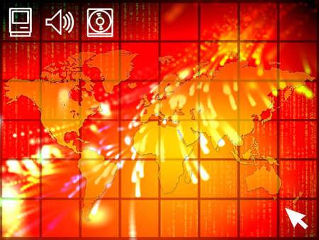 Eine Abbildung des hohen Tech mit ausgebrittenem Diagramm der Welt und des binären Codes. Standard-Bild - 282448