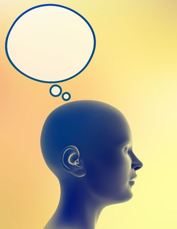 Woman alone, with bubble for thoughts above her head. Just add your text or image to the bubble. Standard-Bild