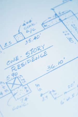 Old real estate survey. Original blueprint slightly faded and printed on old printer. 版權商用圖片 - 286745