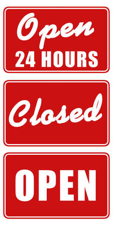24 hours: Set of three signs: Open 24 hours, Open, and Closed