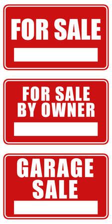 Set aus drei Zeichen: Für den Verkauf, für den Verkauf durch Eigentümer und Garage Sale  Standard-Bild - 286740