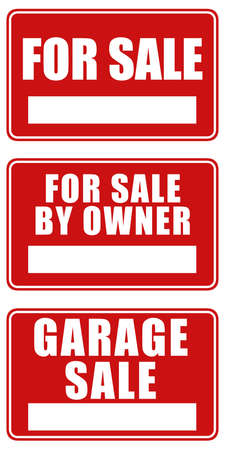 home owner: Set of three signs: For sale, For sale by owner and Garage sale Stock Photo
