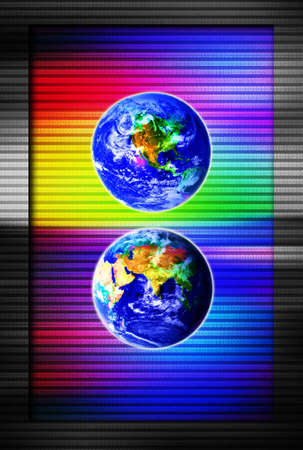 renders: Realistic renders of Earth, with binary code behind them. Perfect for a cover, presentation, etc. Stock Photo