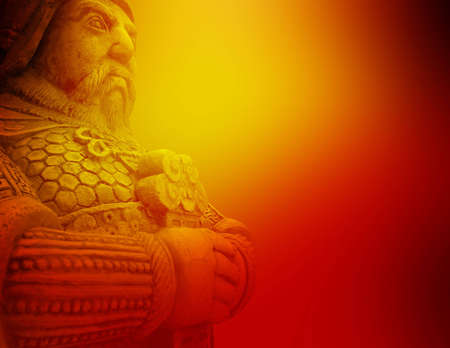 Beautiful background of ancient warrior holding sword