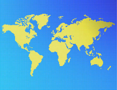 A map of the world consisting of blue and yellow dots.