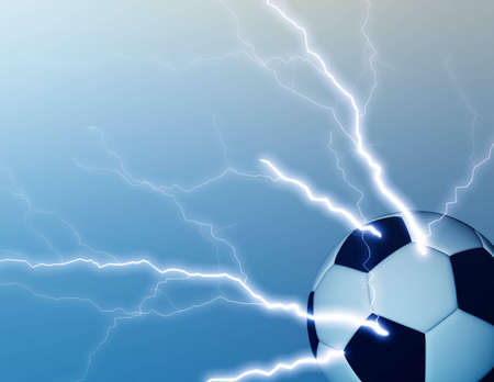 ball lightning: Computer generated background of a soccer ball with lightning bolts. Stock Photo