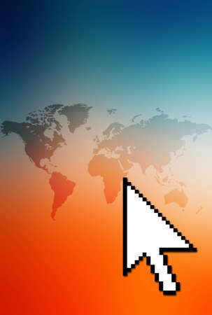 Colorful computer collage of an arrow pointing at the world. Stock Photo - 290195