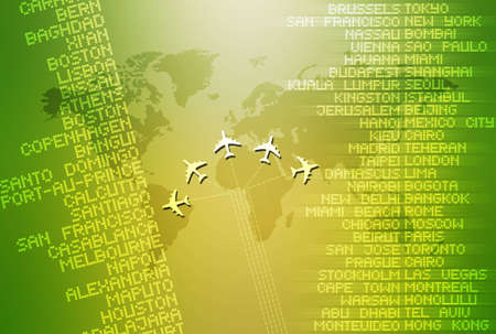 depicting: Computer illustration depicting world travel. Stock Photo
