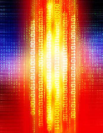 Die Computerabbildung, die aus binärem Code bestehen und die Matrix style Buchstaben. Standard-Bild - 290185
