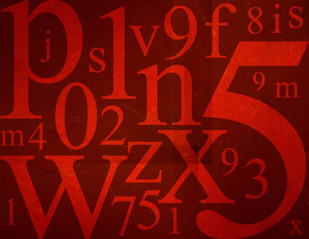 Random letters and numbers on blue grunge background.