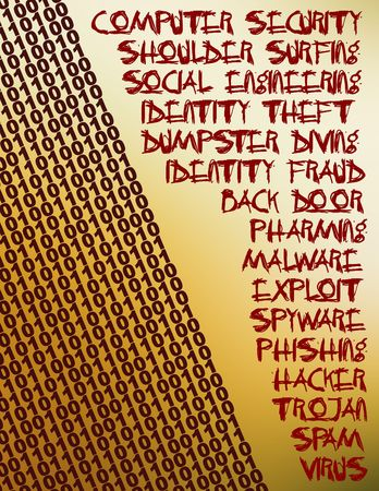 Collage of words related to the new era in computer security. photo