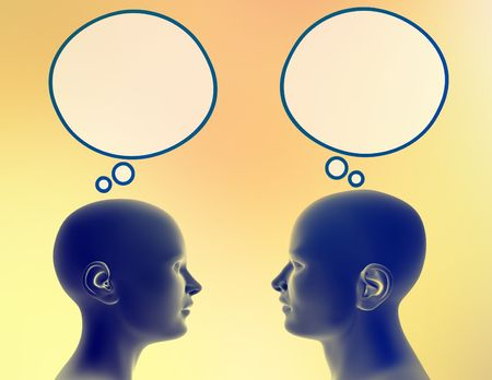 sideway: Woman and man share different thoughts. Just add your text or image to the bubble. Stock Photo