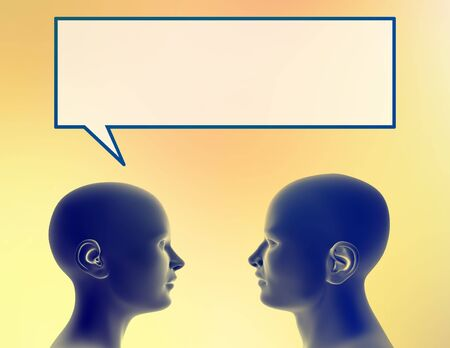 Profile of a woman sharing a thought with a man. Stock Photo - 290176