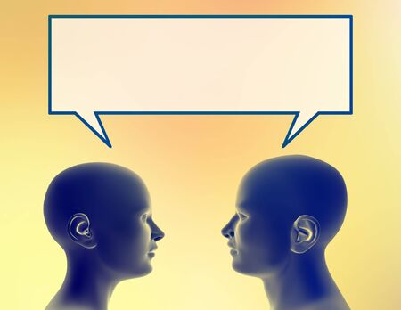 Woman and man share a thought. Just add your text or image to the bubble.