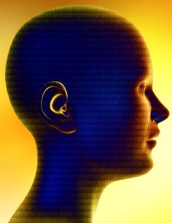 Computer illustration consisting of a human head full of binary code. Standard-Bild