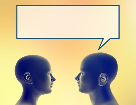 Profile of a man sharing a thought with a woman. Stock Photo - 290162