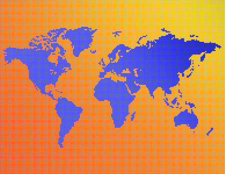 A map of the world consisting of blue, yellow and orange dots. 版權商用圖片 - 294438