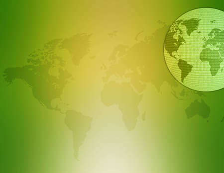 World map illustration with binary code on it. Standard-Bild