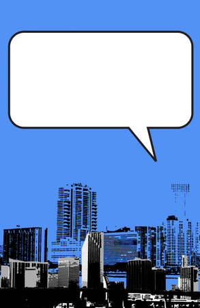 Miami Florida grunge style graphic in blue with blank box for your writing