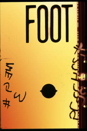 mm: Piece of 35 mm motion film with the word foot on it Stock Photo