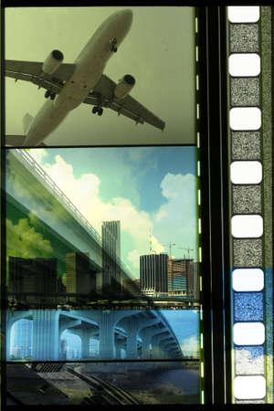 35: Mix de tira de pel�cula de 35 mm y varias im�genes de los edificios de Miami, y la v�a r�pida, plance y un crucero.