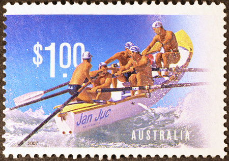 savers: Life savers on rowing boat in australian postage stamp