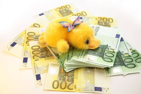 scrooge: Scrooge and Euro banknotes Stock Photo